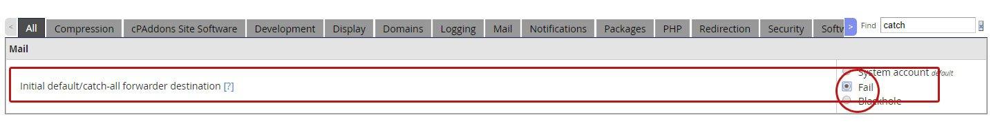 catchall تنظیمات سرور cPanel جهت افزایش سرعت وب سایت ها