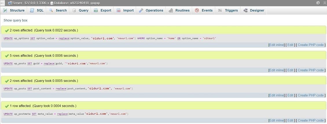 changing wordpress urls تغییر آدرس های سایت از طریق SQL Query در دیتابیس وردپرس