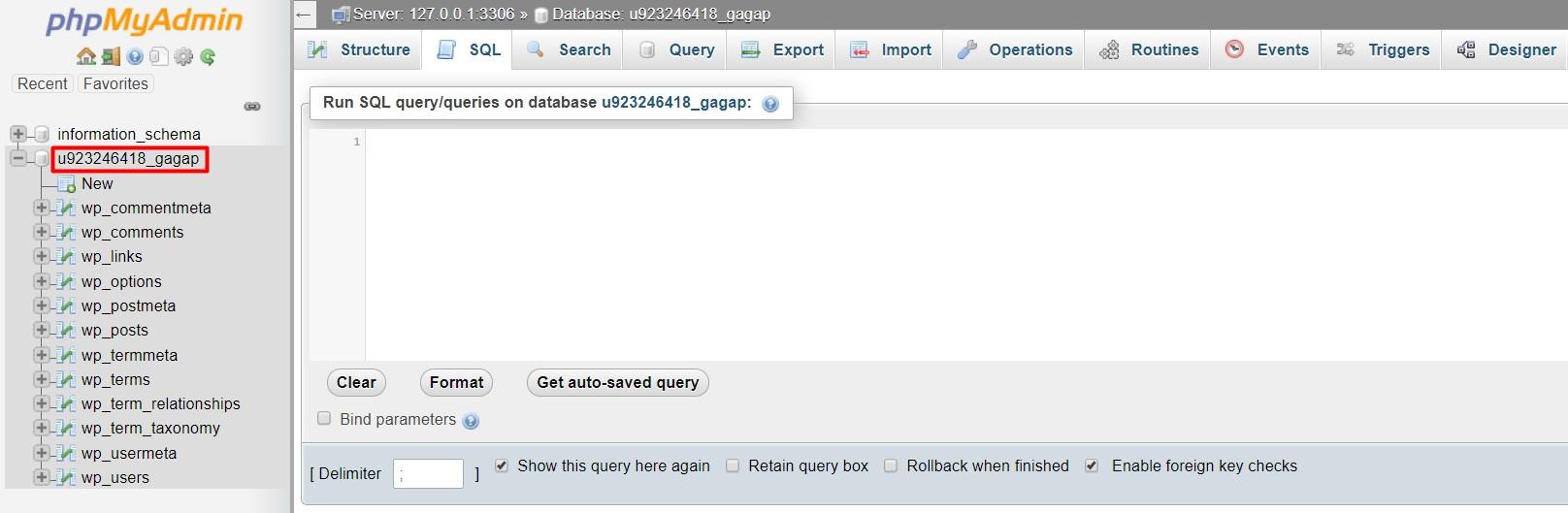 database name select تغییر آدرس های سایت از طریق SQL Query در دیتابیس وردپرس