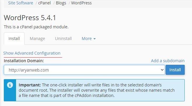 wordpress hosting advance نصب کننده خودکار یا Installer برای وردپرس در cPanel